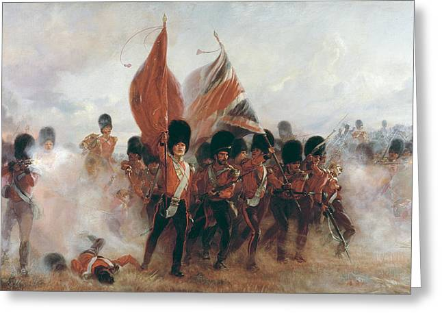 Courage Photographs Greeting Cards - The Colours Advance Of The Scots Guards At The Alma, 1899 Oil On Canvas Greeting Card by Lady Butler