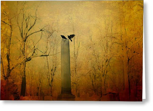Two Crows Greeting Cards - The Column Greeting Card by Gothicolors Donna Snyder