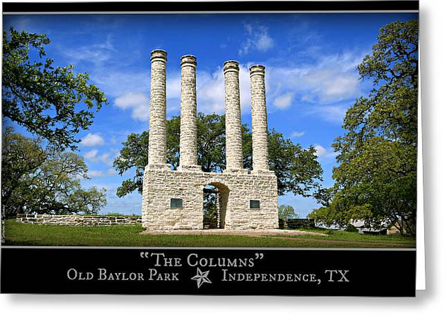 Waco Greeting Cards - The Columns of Old Baylor at Independence -- Color Poster Greeting Card by Stephen Stookey