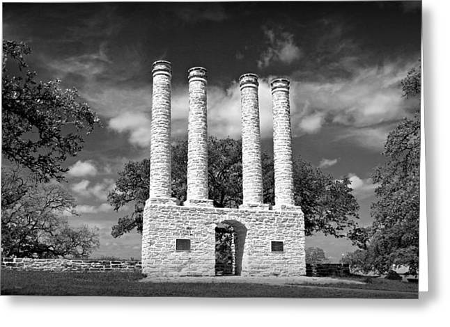 Rufus Greeting Cards - The Columns of Old Baylor at Independence Greeting Card by Stephen Stookey
