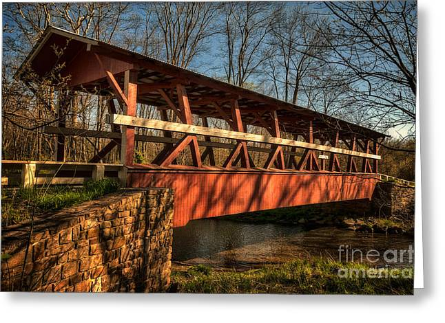 The Colvin Covered Bridge Greeting Card by Lois Bryan