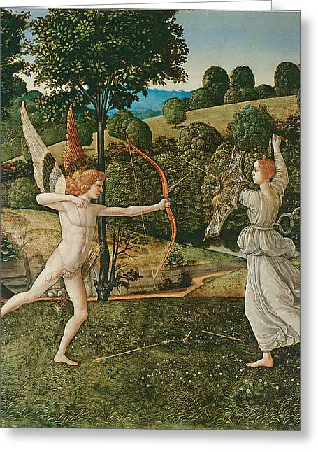 Chastity Greeting Cards - The Combat of Love and Chastity Greeting Card by Gherardo Di Giovanni Del Fora