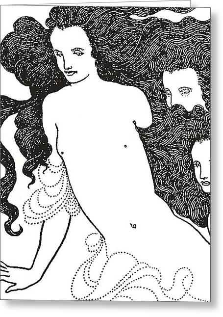 The Comedy Of The Rhinegold Greeting Card by Aubrey Beardsley