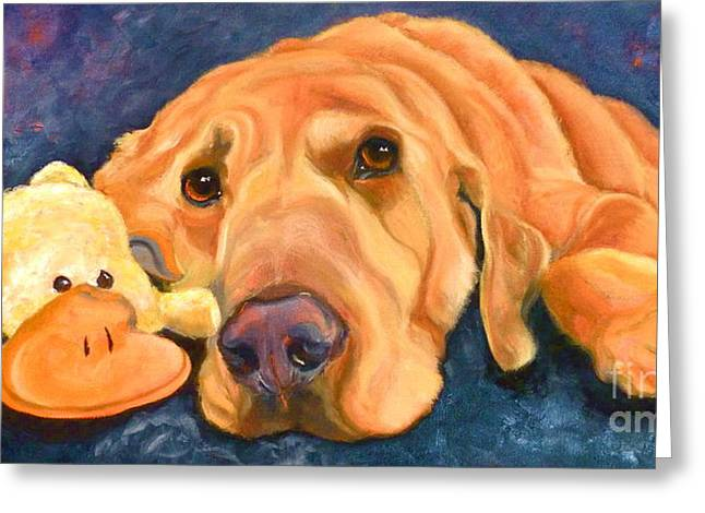 Toy Dog Drawings Greeting Cards - The Comfort of Friends Greeting Card by Susan A Becker