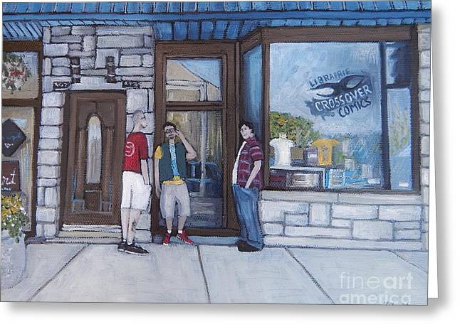 Montreal Streets Paintings Greeting Cards - The Comic Book Shop Greeting Card by Reb Frost
