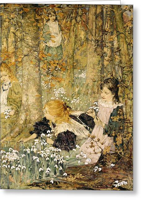Picking Flowers Greeting Cards - The Coming Of Spring, 1899 Greeting Card by Edward Atkinson Hornel