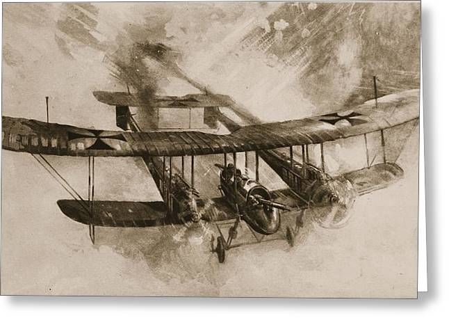 Flight Drawings Greeting Cards - The Coming Of The Big Fighting Greeting Card by English School