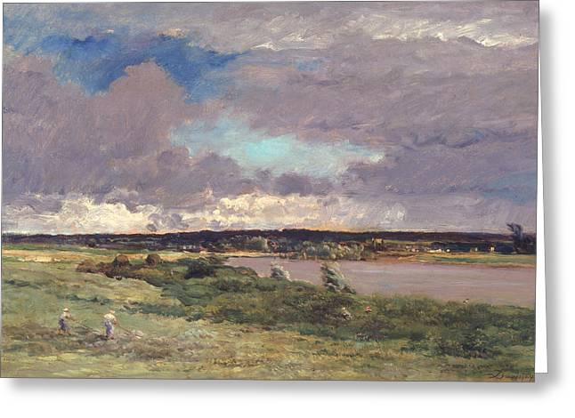 Grey Clouds Greeting Cards - The Coming Storm Greeting Card by Charles Francois Daubigny