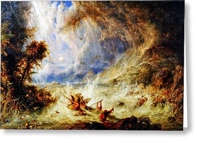 Deluge Greeting Cards - The Commencement of the Deluge Greeting Card by William Westall