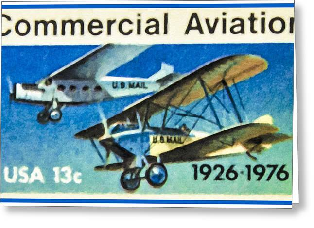 Paper Airplanes Paintings Greeting Cards - The Commercial Aviation stamp Greeting Card by Lanjee Chee