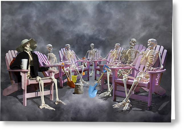 Bone Structure Greeting Cards - The Committee Reaches Enlightenment Greeting Card by Betsy C  Knapp