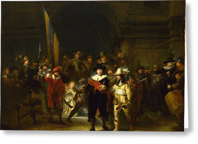 Nightwatch Greeting Cards - The Company of Captain Banning Cocq. The Nightwatch  Greeting Card by Gerrit Lundens