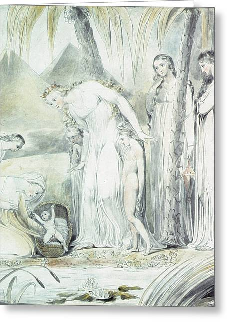Testament Greeting Cards - The Compassion Of Pharaohs Daughter Or The Finding Of Moses, 1805 Pen & Wc Over Pencil Greeting Card by William Blake