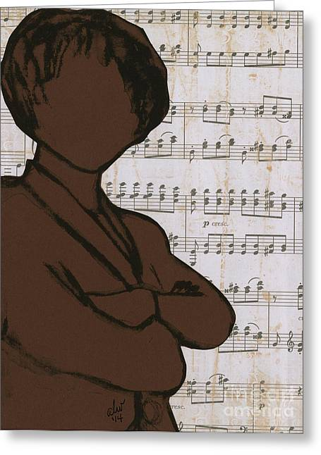Journal Drawings Greeting Cards - The Concert Critic Greeting Card by Angela L Walker