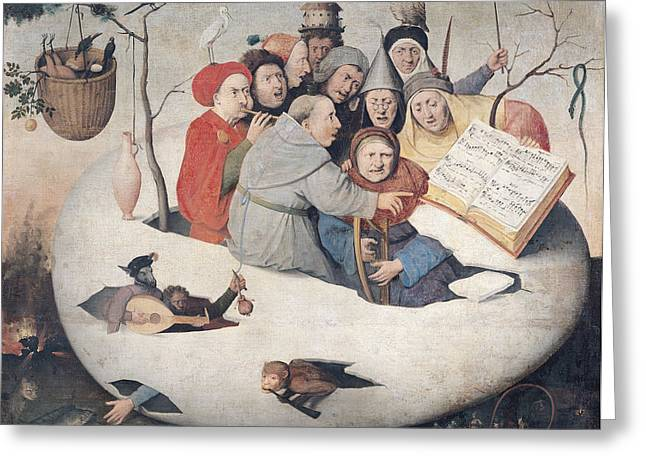 Satyr Greeting Cards - The Concert In The Egg Oil On Panel Greeting Card by Hieronymus Bosch