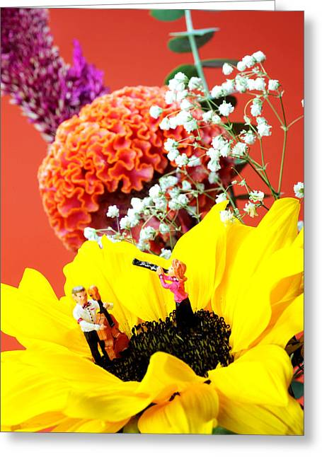 Playing Digital Art Greeting Cards - The concert in the flower miniature art Greeting Card by Paul Ge