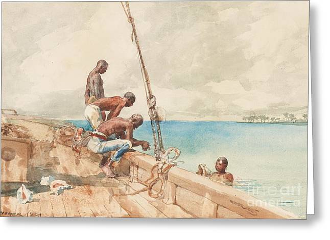 Conch Greeting Cards - The Conch Divers Greeting Card by Winslow Homer