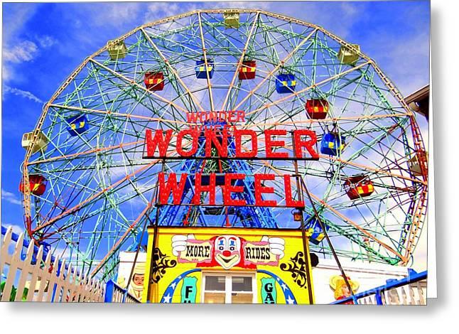 Amusements Greeting Cards - The Coney Island Wonder Wheel Greeting Card by Ed Weidman