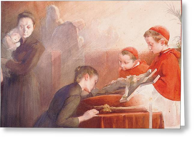 First-family Greeting Cards - The Confirmation Greeting Card by Henri Jules Jean Geoffroy