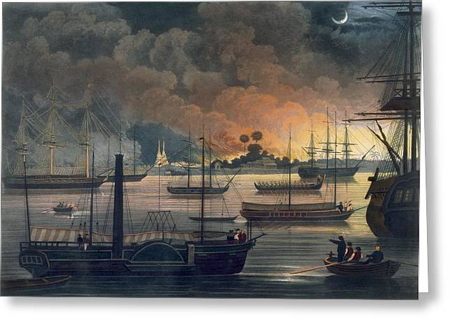 Sailing At Night Greeting Cards - The Conflagration Of Dalla Greeting Card by Joseph Moore