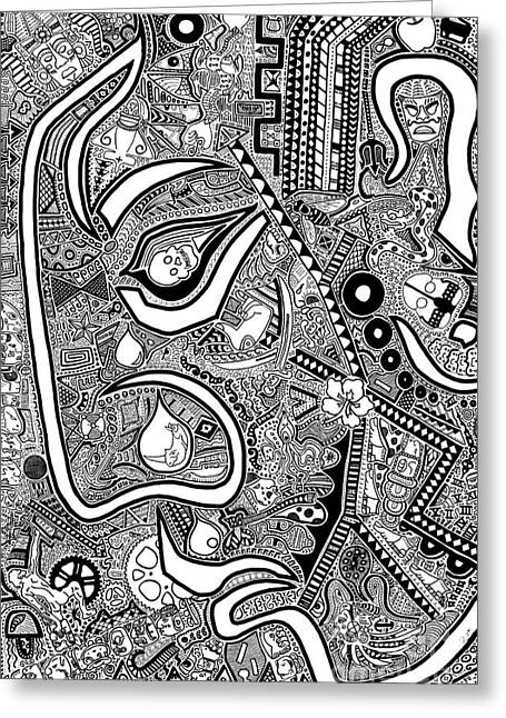 Sharpie Art Greeting Cards - The Confrontation Greeting Card by The Art Of Rido