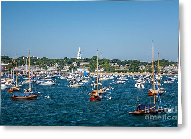 Best Sellers -  - Sailboats In Harbor Greeting Cards - The Congregational Church on Nantucket Harbor Greeting Card by Susan Cole Kelly