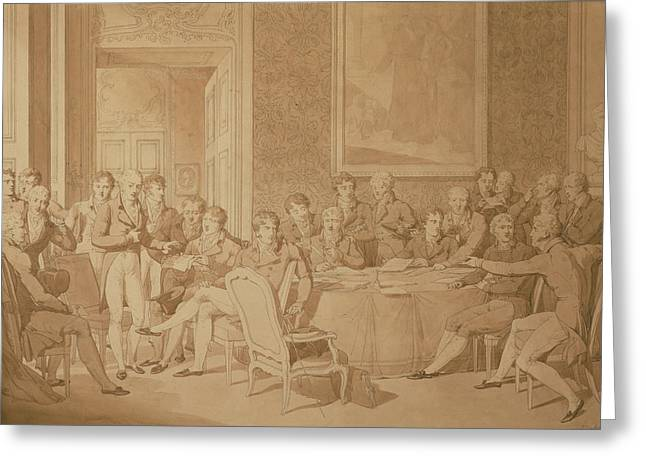Group Portraits Greeting Cards - The Congress Of Vienna, 1815 Pencil & Wc See Also 217258 Greeting Card by Jean-Baptiste Isabey