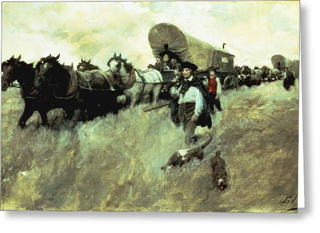 Wagon Greeting Cards - The Connecticut Settlers Entering Greeting Card by Howard Pyle