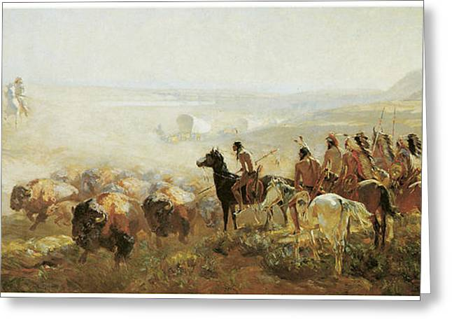 Hunting Camp Greeting Cards - The Conquest of the Prairie Greeting Card by Irving R Bacon