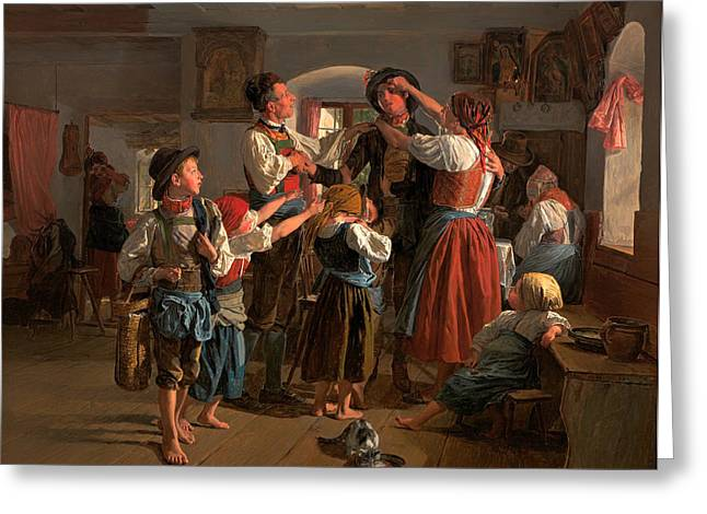Goodbye Paintings Greeting Cards - The Conscripts Farewell  Greeting Card by Ferdinand Waldmuller