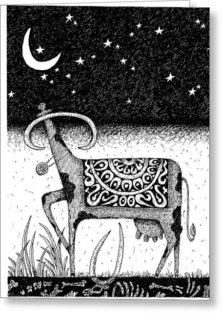 Constellations Drawings Greeting Cards - The Constellation of a Cow Greeting Card by Victor Koryagin