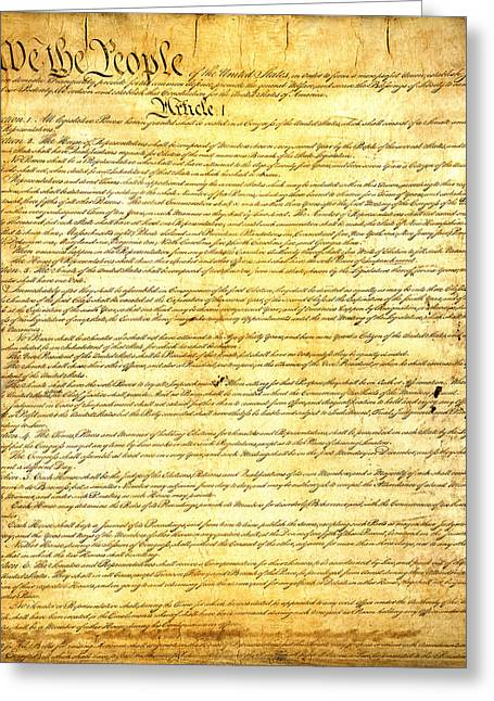 Washington State Greeting Cards - The Constitution of the United States of America Greeting Card by Design Turnpike