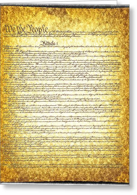 Civil Rights Greeting Cards - The constitution on vintage tattered paper  Greeting Card by Eti Reid