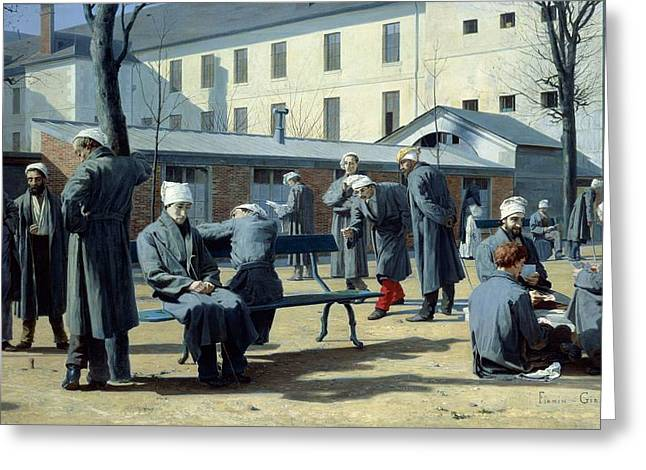 Convalescing Greeting Cards - The Convalescents, 1861 Oil On Canvas Greeting Card by Marie Francois Firmin-Girard