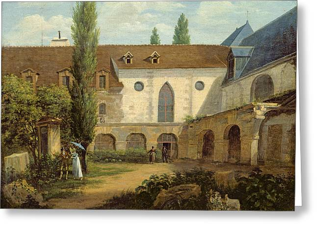 Cloister Greeting Cards - The Convent Courtyard Of Petits-augustins A Paris, C.1818 Oil On Canvas Greeting Card by Etienne Bouhot