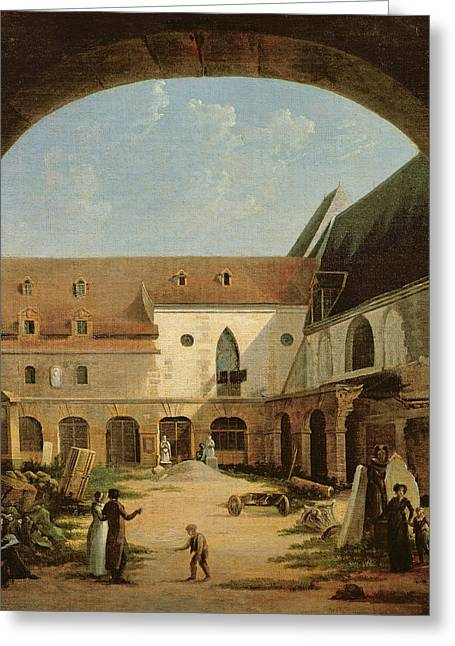 Cloister Greeting Cards - The Convent Courtyard Of Petits-augustins In Paris, C.1818 Oil On Canvas Greeting Card by Etienne Bouhot