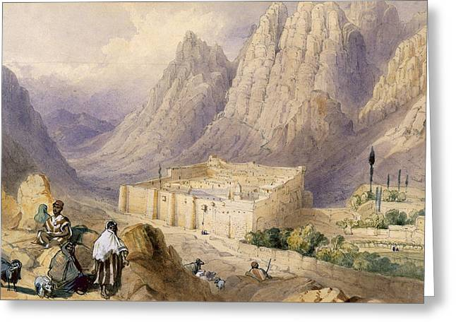 Goat Drawings Greeting Cards - The Convent Of St. Catherine, Mount Greeting Card by William Henry Bartlett