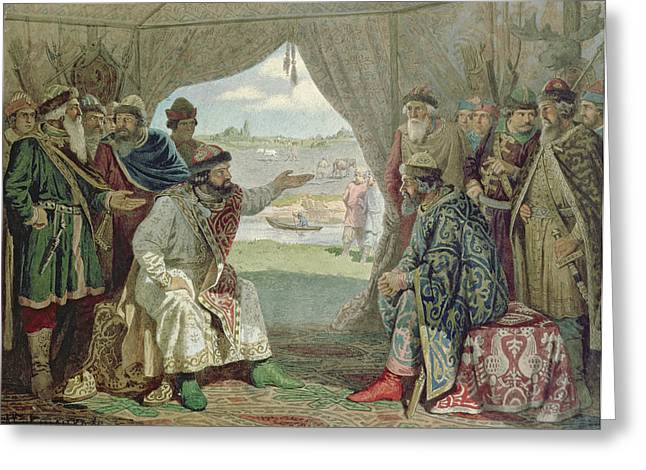 Tent Greeting Cards - The Convention Of Princes With Grand Duke Vladimir Monomakh Ii 1053-1125 At Dolob In 1103, 1880 Wc Greeting Card by Aleksei Danilovich Kivshenko