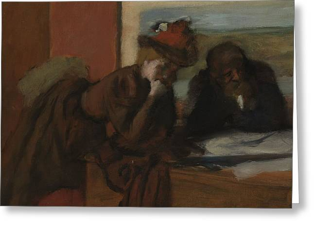 Conferring Greeting Cards - The Conversation, 1885-95 Greeting Card by Edgar Degas