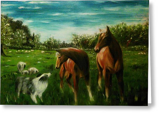 Collie Greeting Cards - The Conversation Greeting Card by Isabella F Abbie Shores LstAngel Arts