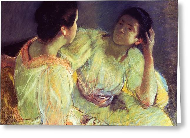 Sitting Pastels Greeting Cards - The Conversation Greeting Card by Mary Stevenson Cassatt