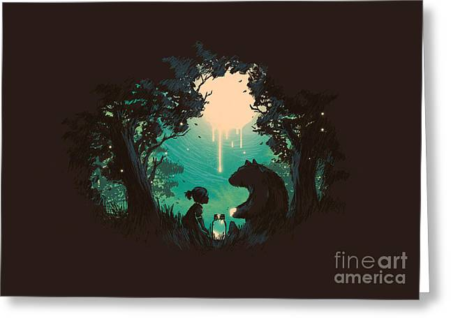 Forest At Night Greeting Cards - The Conversationalist Greeting Card by Budi Satria Kwan
