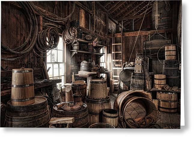 Old Barrels Greeting Cards - The Coopers Shop - 19th century workshop Greeting Card by Gary Heller