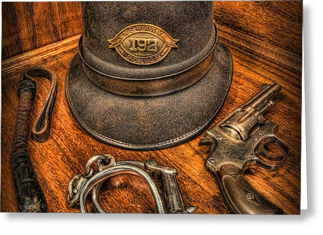 The Copper's Gear - Police Officer Greeting Card by Lee Dos Santos