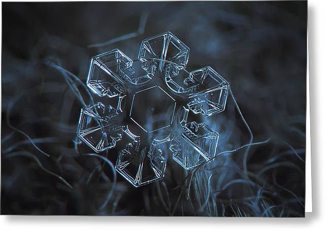 Cold Greeting Cards - Snowflake photo - The core Greeting Card by Alexey Kljatov