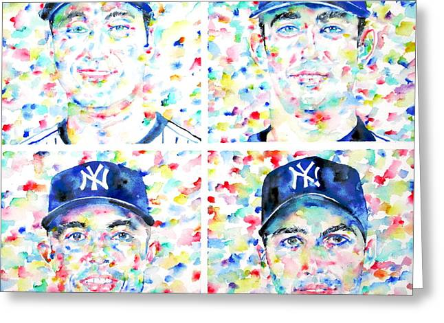 Mariano Rivera Greeting Cards - the CORE FOUR - watercolor portrait.1 Greeting Card by Fabrizio Cassetta