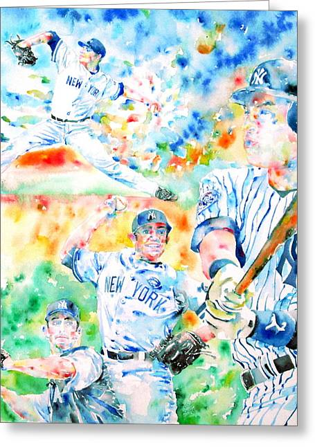 Mariano Rivera Greeting Cards - the CORE FOUR - watercolor portrait.2 Greeting Card by Fabrizio Cassetta