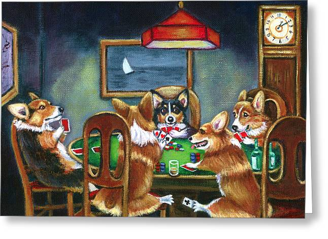 Whimsical Paintings Greeting Cards - The Corgi Poker Game Greeting Card by Lyn Cook
