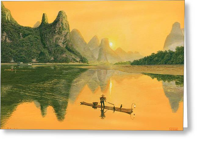 Greeting Cards For Sale Greeting Cards - The Cormorant Fisherman Li River Guilin China  Greeting Card by Richard Harpum