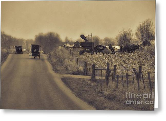 Corn Picker Greeting Cards - The Corn Picker Greeting Card by David Arment